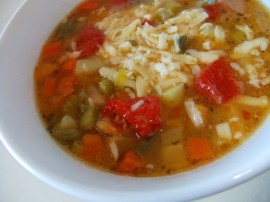 Veg soup with Sun Dried Tom and Swiss Cheese