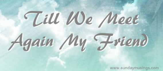 Till We Meet Again - Sunday Musings