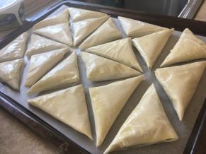 Spinach Triangles on Tray